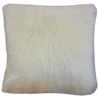 Valeska Faux Fur Pillow - 24x24 - Down Insert - Linen & Seam