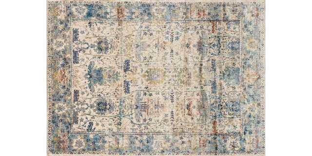 """AF-07 SAND / LT. BLUE Rug - 6'7"""" x 9'2"""" - Loma Threads"""