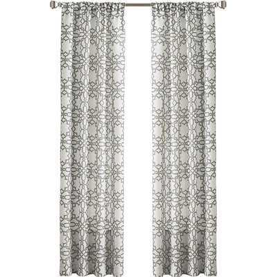 "Lotus Harmony Single Curtain Panel - Charcoal - 63"" - Wayfair"