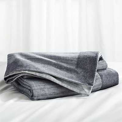 Neily Blue Blanket - King - Grey - Crate and Barrel