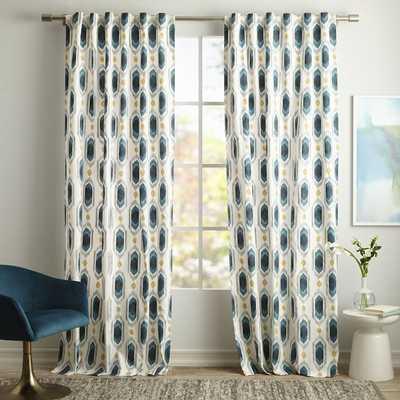 """Cotton Canvas Ikat Gem Curtain - Blue Teal- Set of 2, 84"""" - West Elm"""