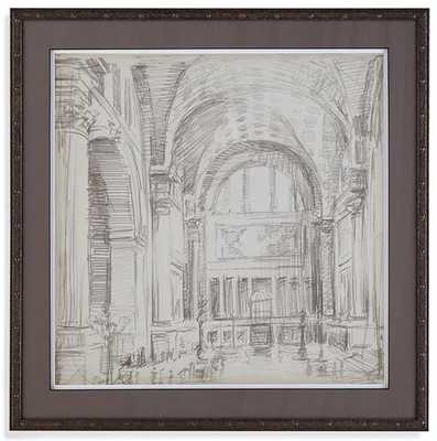 "Interior Architectural Sketch IV - 26"" square - Bronze Frame - With Mat - Home Decorators"
