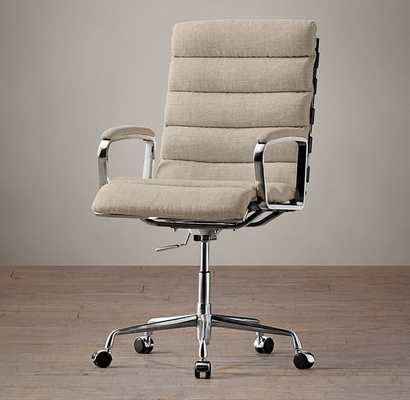 Oviedo Upholstered Desk Chair - Belgian Linen, Sand - RH