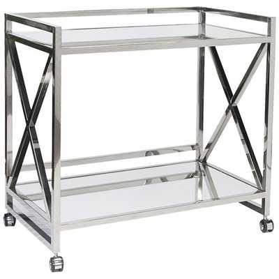 Gerard X Bar Cart, Silver - High Fashion Home