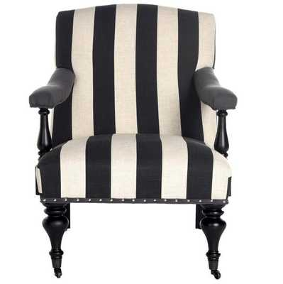 DEVONA AWNING STRIPE ARM CHAIR - SILVER NAIL HEADS - Arlo Home