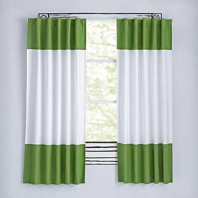 "84"" Dark Green Color Edge Curtain - Land of Nod"