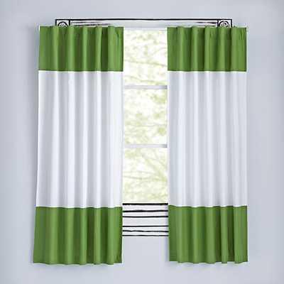 "96"" Dark Green Color Edge Curtain - Land of Nod"