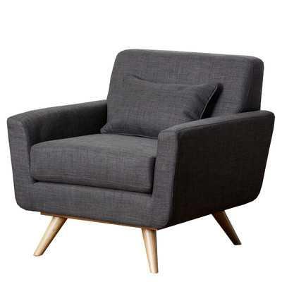 Paisley Tufted Fabric Arm Chair - Gray - Wayfair