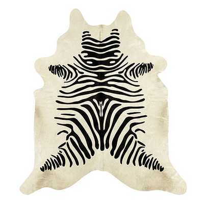 Natural Cowhide Rug - Stenciled Black and White Zebra - Ballard Designs