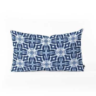 "WATERCOLOR SHIBORI INDIGO Oblong Throw Pillow - 23"" x 14"" - Polyester Fill Insert - Wander Print Co."