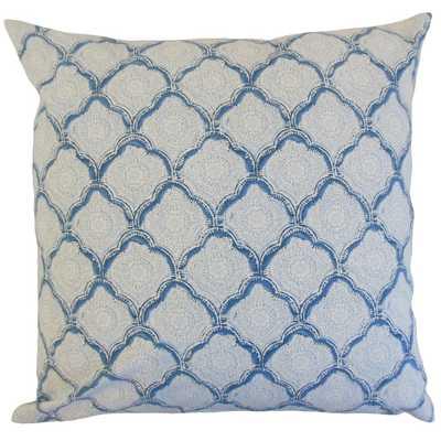 "Padma Geometric Pillow Sky blue and white - 20"" x 20"" - Polyester Insert - Linen & Seam"