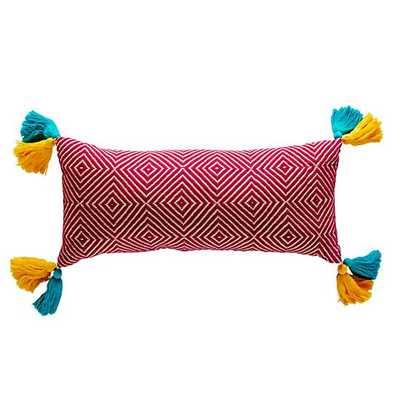 "Woven Tassel Pillow - 24""Wx11""H - Polyester Fill - Land of Nod"