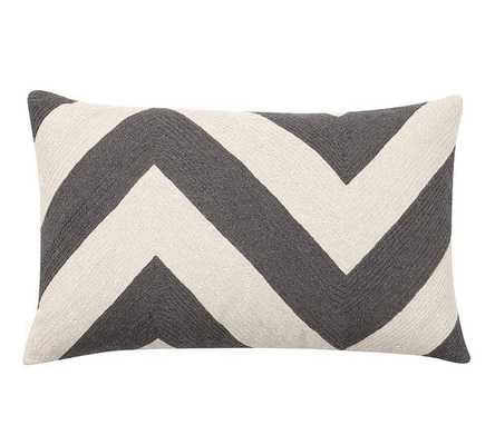 "Chevron Crewel Embroidered Lumbar Pillow Cover - Grey - 16"" x 26"" - Insert Sold Separately - Pottery Barn"