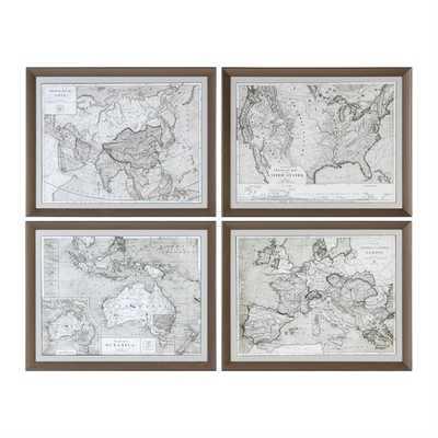 World Maps, S/4 - 28x22 - Bronze frame - with mat - Hudsonhill Foundry