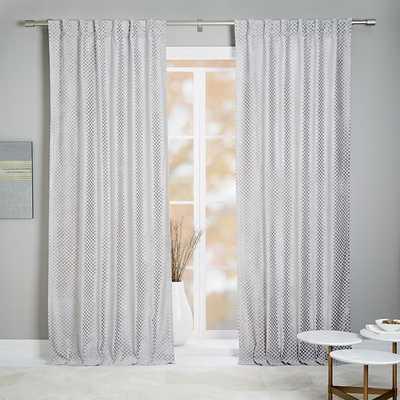 """Flocked Woven Squares Curtain + Blackout Panel, Platinum, 48""""x84"""" - West Elm"""