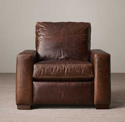MAXWELL LEATHER RECLINER - Italian Brompton, Cocoa, Down-Feather - RH