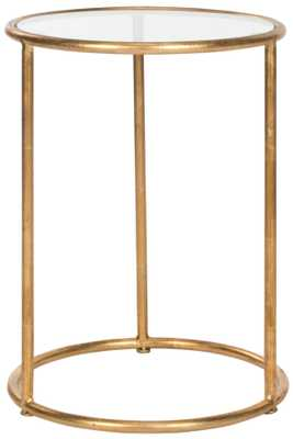 SHAY GLASS TOP GOLD ACCENT TABLE - Arlo Home