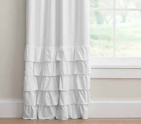 "Evelyn Linen Blend Ruffle Bottom Blackout Panel - White - 96"" - Pottery Barn Kids"
