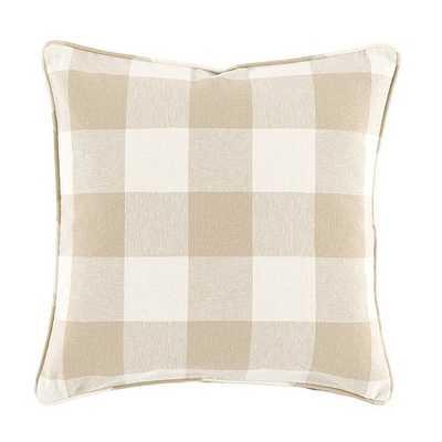 "Buffalo Check Pillow - Natural - 20"" Sq - Feather/Down insert - Ballard Designs"