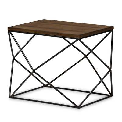 Stilo Rustic Industrial Style Antique Black Textured Finished Metal Distressed Wood Occasional End Table - Lark Interiors