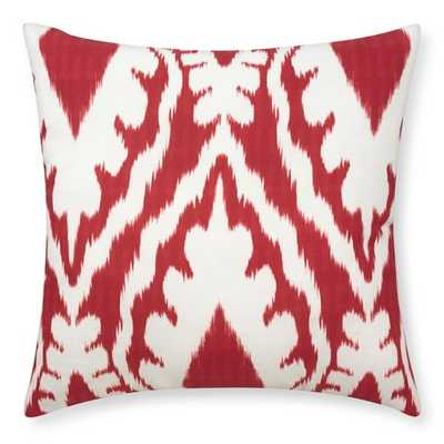 """Outdoor Printed San Tropez Ikat Pillow, Red - 22"""" sq. - polyfill - Williams Sonoma"""