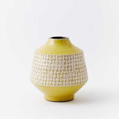 Basketweave Ceramic Short Vase - Horseradish - West Elm