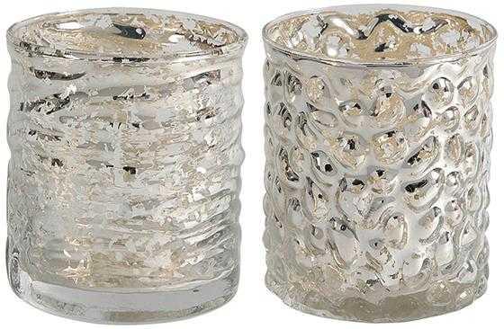 Evora Mercury Glass Candle Holders  - Set of 2 - Short - Home Decorators