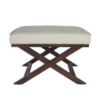 Traditional Cross Legs Ari Beige Linen X Bench Ottoman - Overstock