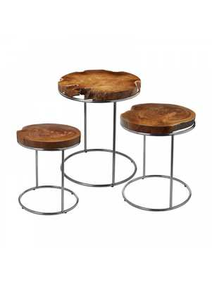 Corley Teak Stacking Tables-Set of 3 - Lulu and Georgia