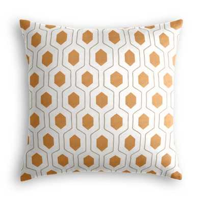 Beige & Orange Hexagon Pillow - 18x18 - Everson Pumpkin - Classic Linen-Brindle - Poly insert - Loom Decor