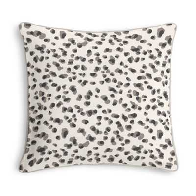 Black & White Leopard Print Pillow - 20x20 - Classic Velvet Snow Trim - Down Insert - Loom Decor