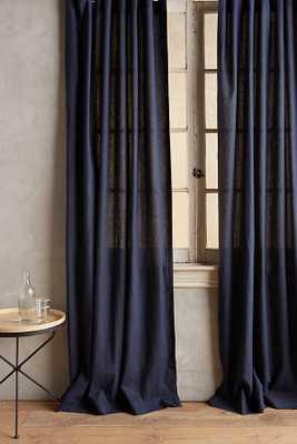 "Linen Tie-Top Curtain - Navy, 108""L - Anthropologie"