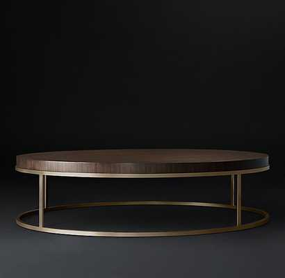 "NICHOLAS 36"" ROUND COFFEE TABLE - Walnut & Burnished Brass - RH Modern"