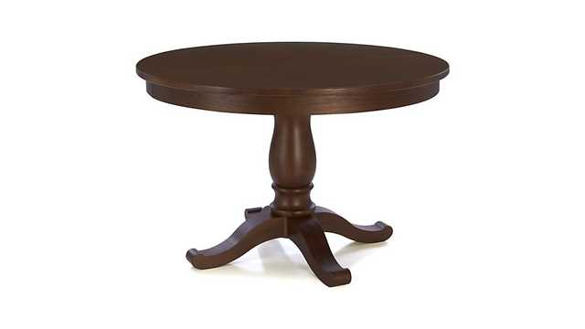 "Avalon 45"" Tea Brown Round Extension Dining Table - Crate and Barrel"