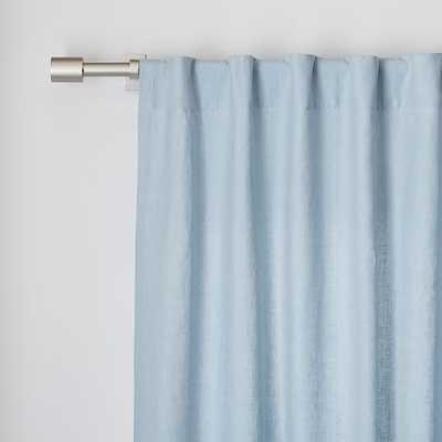 "Belgian Flax Linen Curtain - Moonstone - 108"" - West Elm"