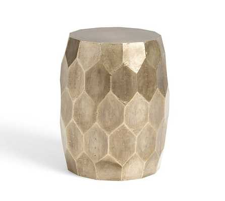 Vince Metal Foil Accent Stool, BRUSHED SILVER - Pottery Barn