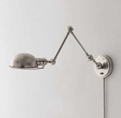 ACADEMY TASK SWING-ARM SCONCE - ANTIQUE PEWTER - RH Teen