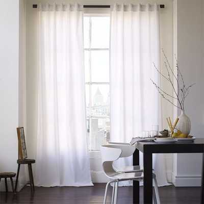 "Havenly Recommended Basic: White Cotton Canvas Curtain Panel - 84"" - West Elm"