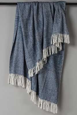 Herringbone Fringe Throw - Navy - Home Decorators