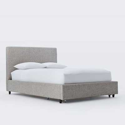Contemporary Upholstered Storage Bed - Heathered Tweed, King - West Elm
