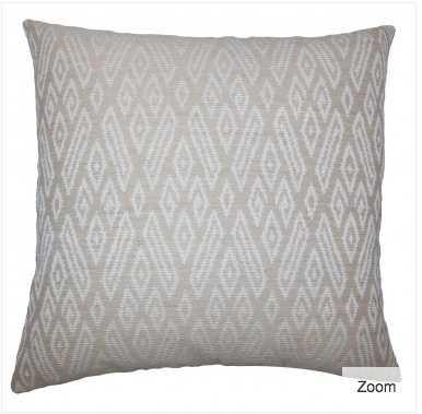 """Gaphna Ikat Pillow Jute, Tan -20"""" x 20""""- Down fill insert - Linen & Seam"""