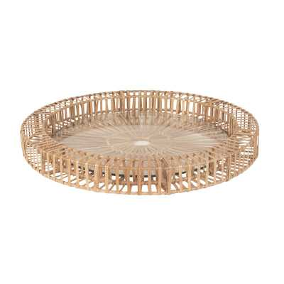 Natural Split Rattan Spoke Tray - Rosen Studio