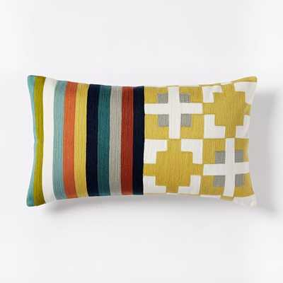 Wallace Sewell Blocks + Stripes Crewel Pillow Cover - West Elm