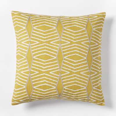 "Crewel Diamond Stripe Pillow Cover - Citrus Yellow - 20""sq. - Insert sold separately - West Elm"