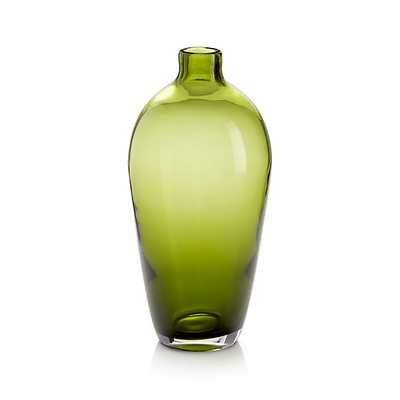 Ashby Small Olive Green Glass Vase - Crate and Barrel