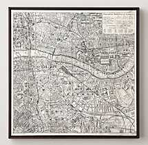 VINTAGE AERIAL MAPS OF EUROPEAN CITIES - LONDON - Framed - RH