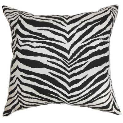 """Cecania Zebra Print Pillow Black White - 18"""" x 18"""" - Down insert - Linen & Seam"""