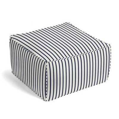 Navy & White Stripe Outdoor Pouf - Loom Decor