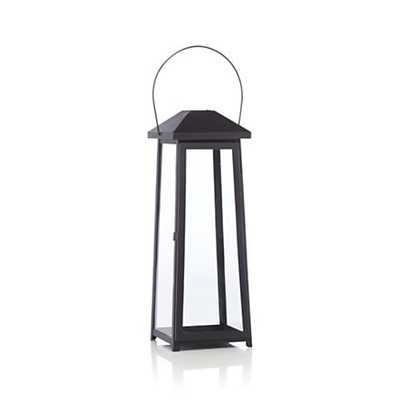Petaluma Large Black Metal Lantern - Crate and Barrel