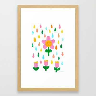 April Showers-  15'' x 21''- Conservation natural frame with mat - Society6